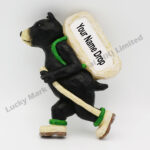 Polyresin Hiking Black Bear Magnet