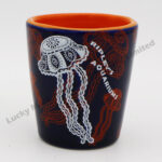 Stoneware Jellyfish Embossed Design Shot Cup