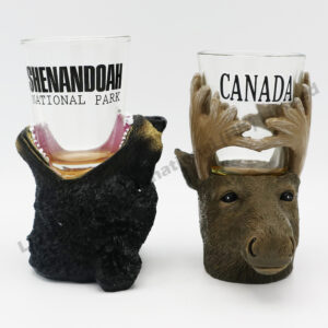 Polyresin Animals Head Mouth Shot Glass Set
