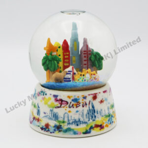 Porcelain Base Polyresin 60mm Snow Globe Dubai Watercolor Skyline (Customer Design)