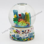 Porcelain Base Polyresin 45mm Snow Globe Abu Dhbai Watercolor Skyline (Customer Design)