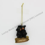 Polyresin Hug Black Bears Ornament