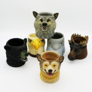 PVC Animals Head Cup & Bottle Holder Set