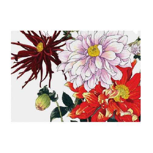 Summer Dahlia printed on a versatile half-letter sized folder, This dahlia image exemplifies the meticulous detail and rich woodblock printing technique for which Tanigami Konan is famous.