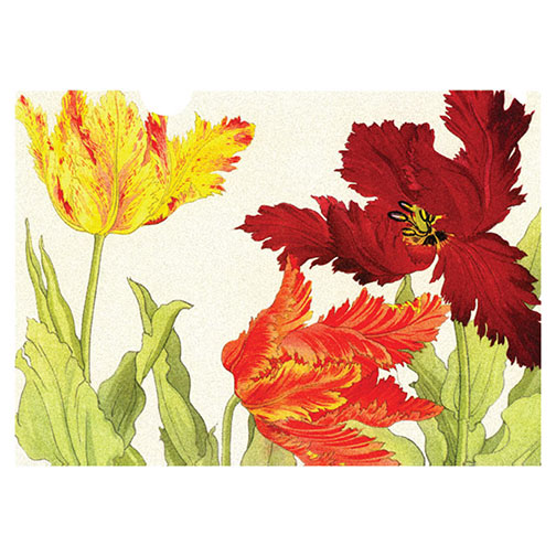 A letter-sized folder with beautiful Tulips -This tulip image exemplifies the meticulous detail and rich woodblock printing technique for which Tanigami Konan is famous.