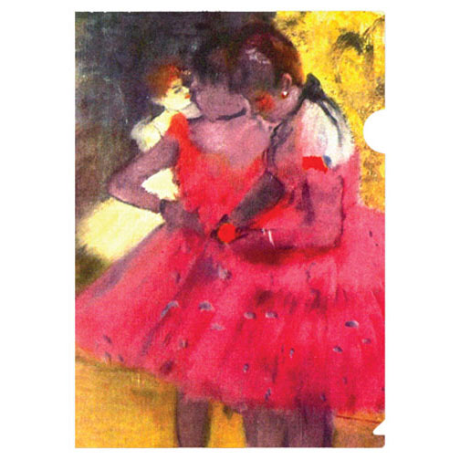 a stunning half-letter sized folder showcasing the Impressionist Edgar Degas' famous paintings of female dancers, focusing on their gestures and poses. perfect for dancers and lovers of Degas impressionist artwork.