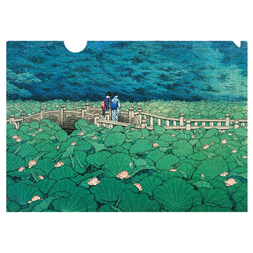 A letter-sized folder using Hasui's Benten Shrine (1929). The lovely lotus flowers peeking out of the pond in a sea of green. A beloved shin-hanga (new prints) artist, Hasui was named a Living National Treasure in Japan in 1956. He worked almost exclusively on landscape and townscape prints based on sketches he made in Tokyo and around Japan, depicting tranquil locales in an urbanizing Japan.