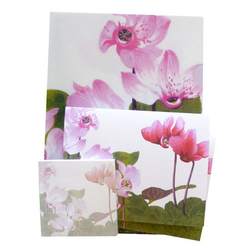 lovely cyclamen half-letter sized folder, w folded cards and a matching sticky pad to bring a splash of lovely pink into your daily world.