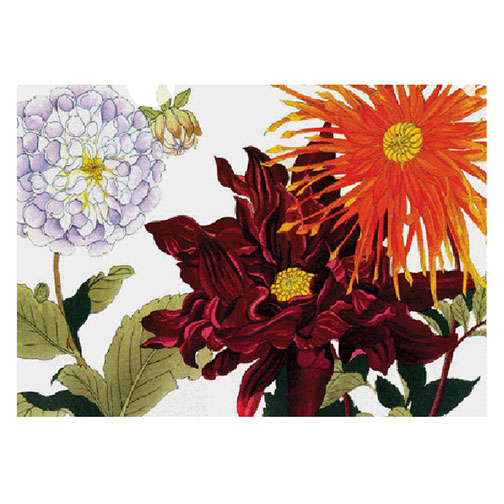 letter-sized folder of the stunning and rich summer dahlia woodblock print by Japanese artist, Konan. it cheers you up everyday.