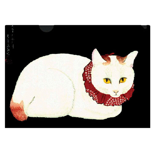 the famous Tama the Cat on a letter-sized folder. This beautiful white cat with a striking red collar is an exceptional example of a shin-hanga (new print) woodblock print, an early 20th-century art movement inspired by European Impressionism. perfect for cat lovers.