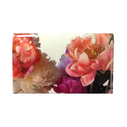 """Peonies are outrageously beautiful in bloom, with lush foliage all summer long. These perennials may thrive for 100 years. Dr. Porter captured the fullest and most scrumptious of these majestic flowers. As Emerson said """"Earth laughs in flowers."""", certainly with these peonies.By using two simple folding steps we created a lovely half-letter-sized folder."""