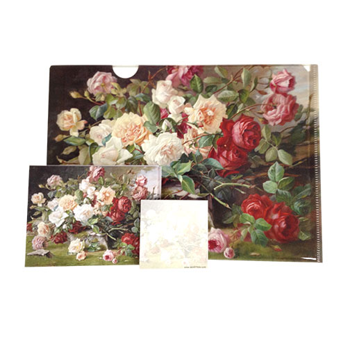 Classic English Rose Still life is the image for this letter sized folder with 2 folded cards and a matching sticky pad that makes a wonderful gift to clients, assistants, teachers and hostess