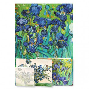 a beautiful gift set including the iconic van gogh Irises accompanied with two folded cards with Irises and a matching sticky pad. makes a perfect hostess, teachers' and art lover's gift.