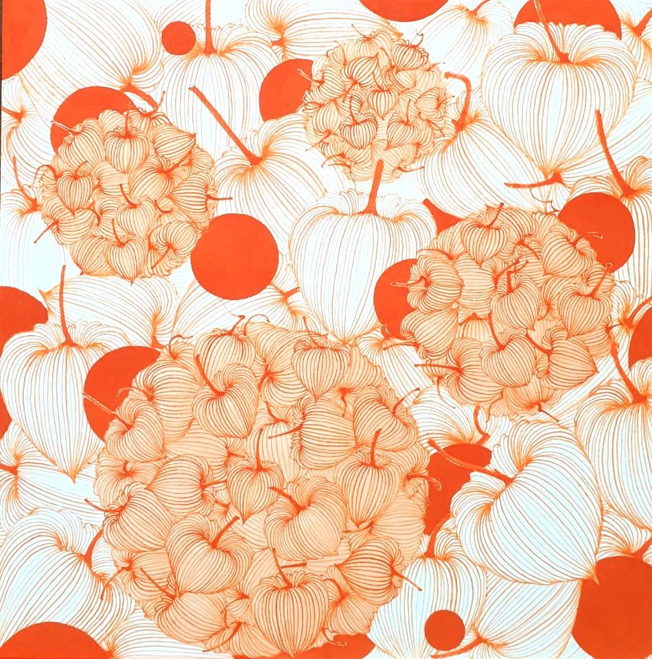 """Good Luck in Ground Cherry"" by Aeri Lee, red ink on Korean paper, 18x18, courtesy Paris Koh Fine Arts"