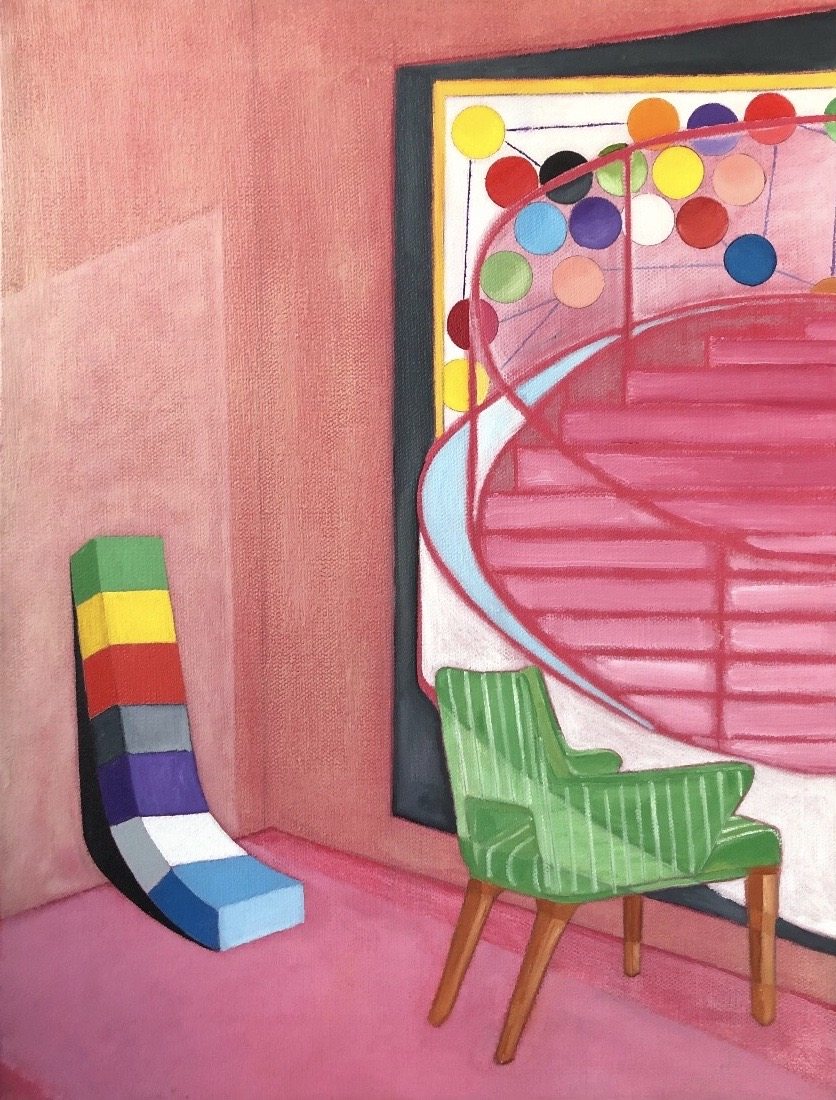 """Pink Chair"" by Samuel Iztueta, oil and acrylic on canvas, 20x16, courtesy Clerestory Fine Art"