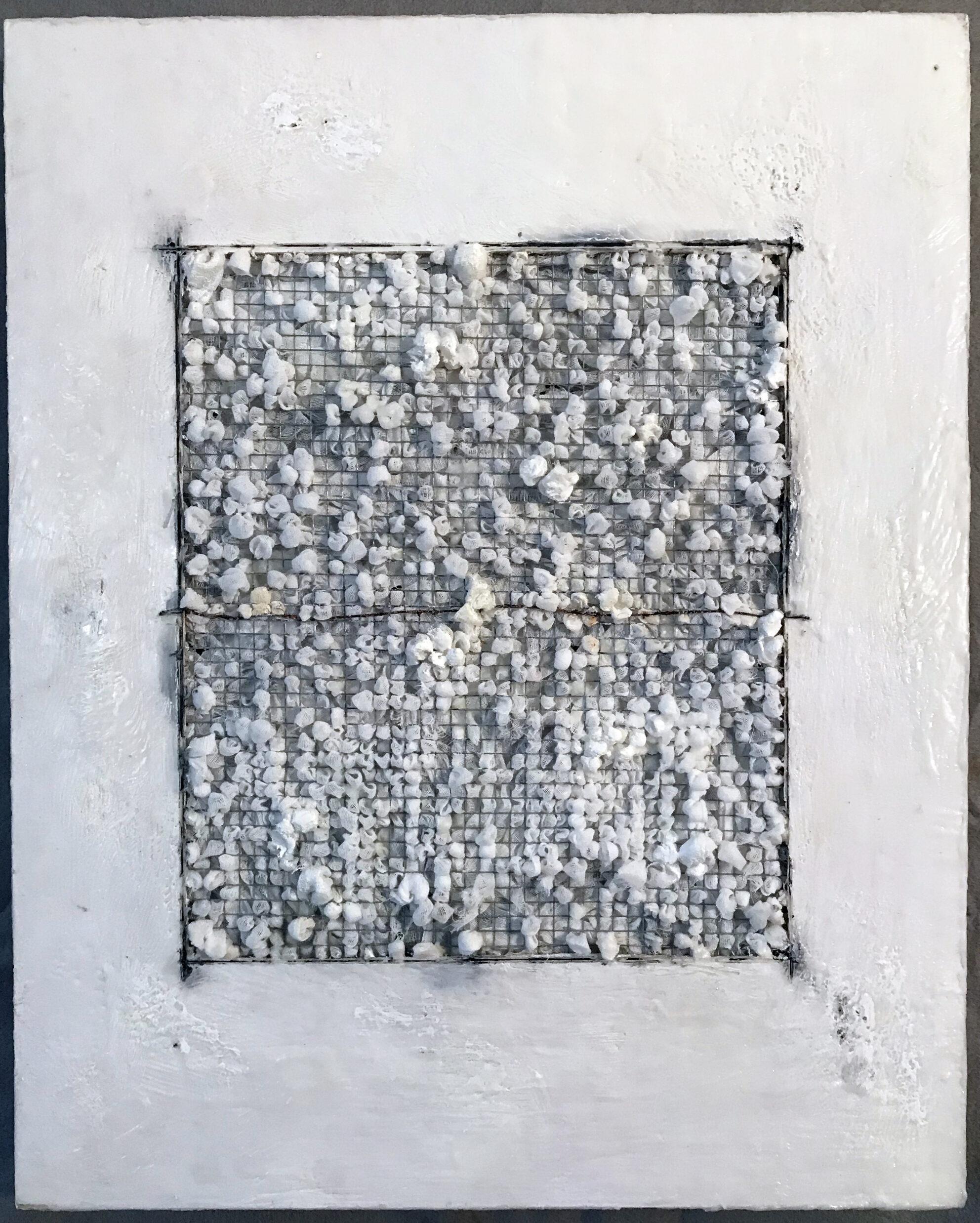 """Grid with One Line"" by Megan Klim, gauze, wire, encaustic, pencil, wood, 20x16"