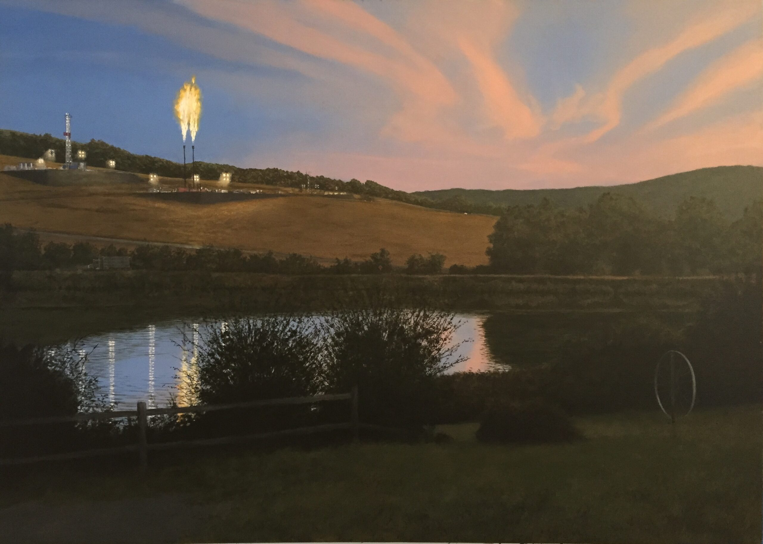 """Alpine Lake Fracking"" by Tim Daly, acrylic on canvas, 42 x 60"