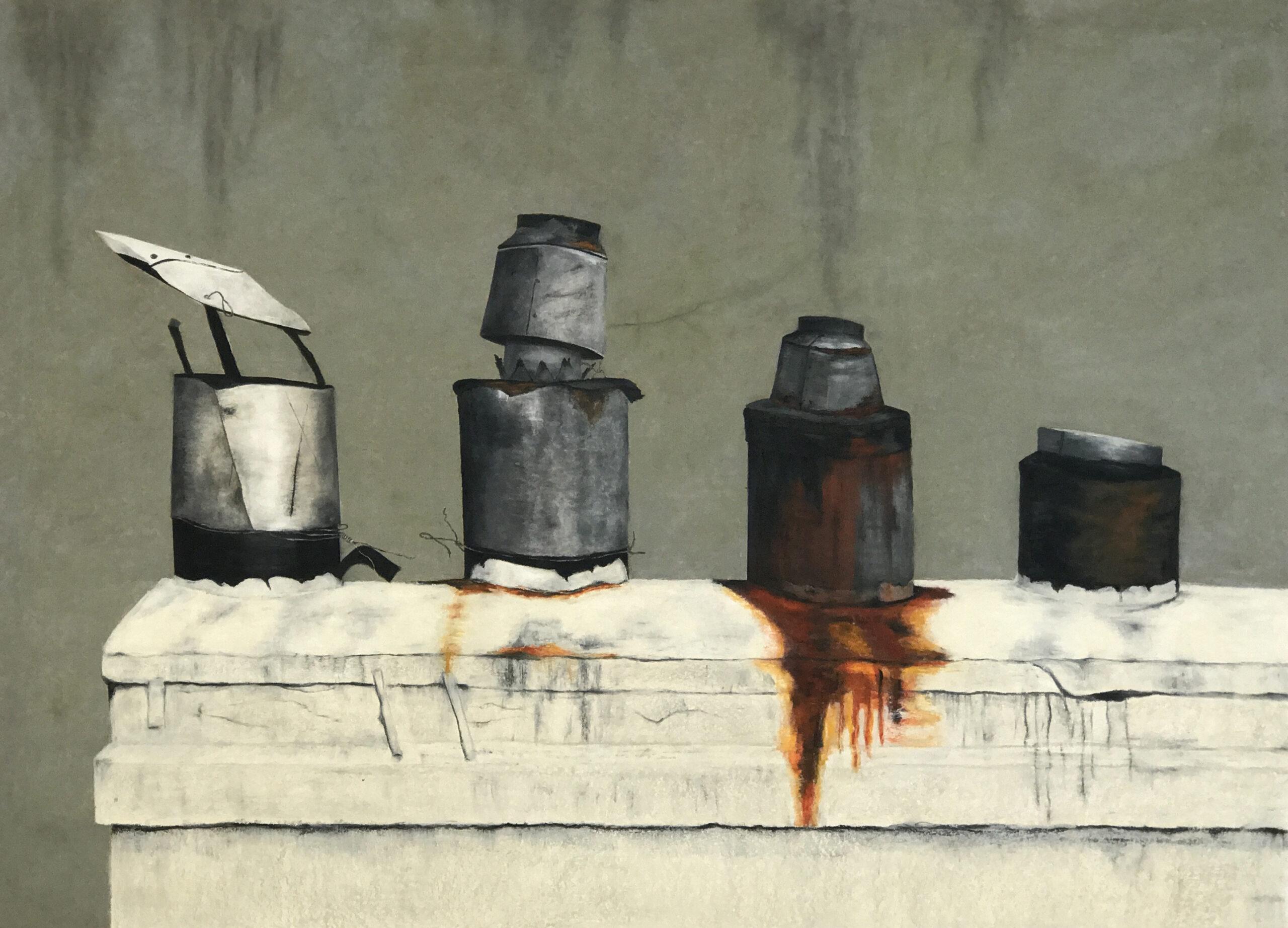 """""""John's Old Chimneys"""" by Loura van der Meule, oil pastel on paper, 32x43"""