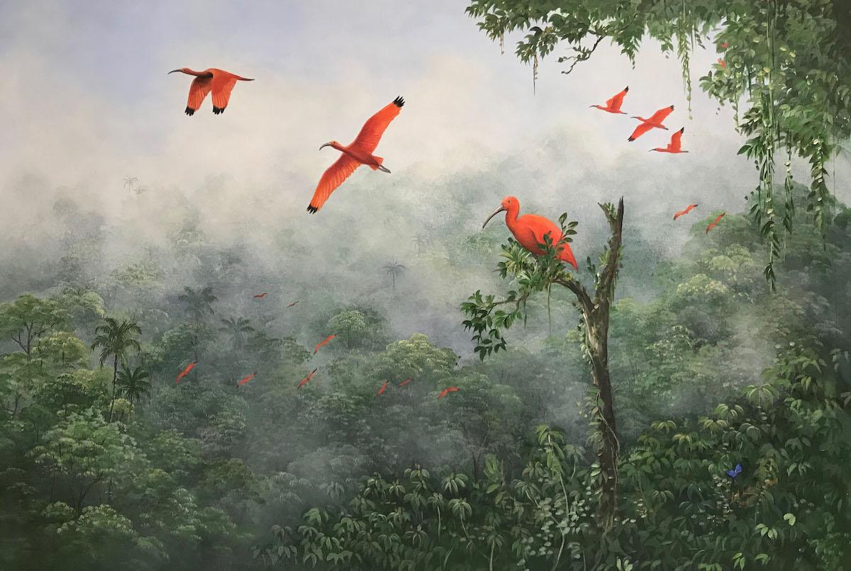 """""""Ibis na Mata"""" by Lelli de Orleans e Bragança, oil and acrylic on canvas, 28x39, courtesy Sciacco Studio"""