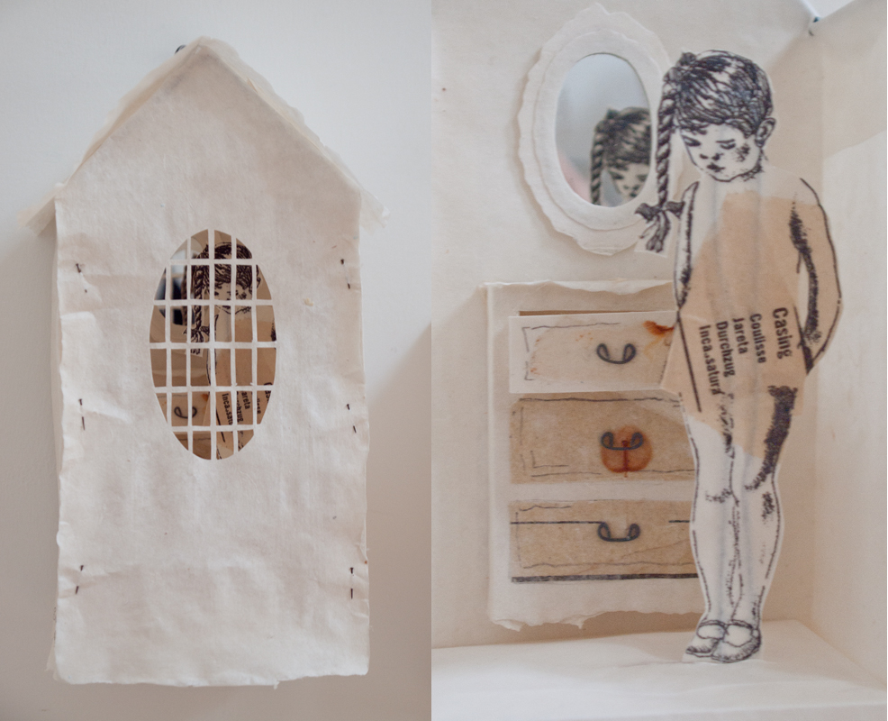 """""""My Space IX""""(external and internal view) by Pam Cooper, handmade paper, xerox transfer of drawings,mirror, printed tissue and metal, 10x5x5"""