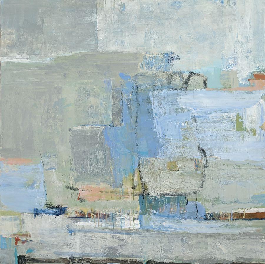 """Rhythmic Movement"" by Patti Davis Ganek, acrylic and mixed media on canvas, 48 x 48, courtesy Broadfoot & Broadfoot"