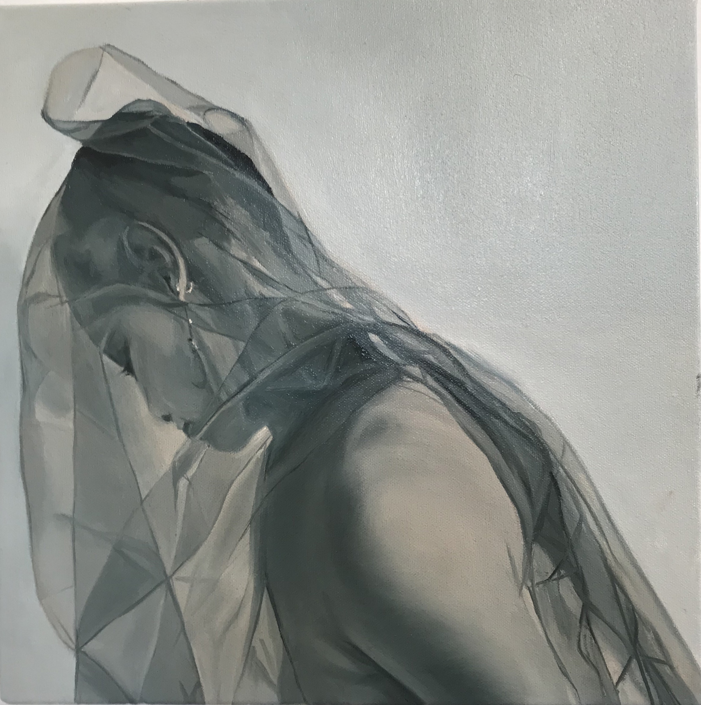 """Letetia Performing in Veil"" by Nan Ring, oil on canvas, 12x12"