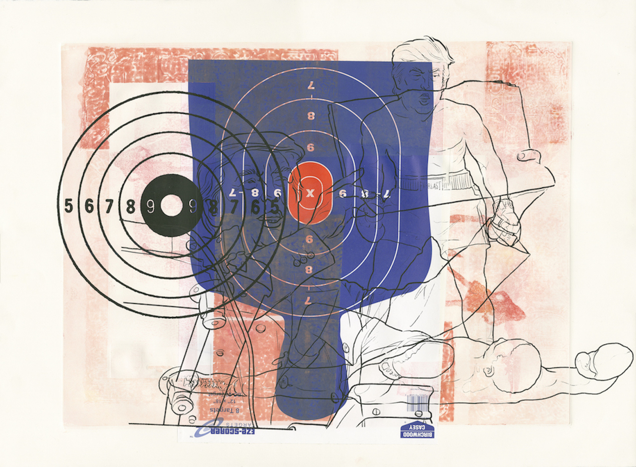 """""""Gun Lobby"""" by Margaret Roleke, monoprint with collage and silkscreen, 22x30"""