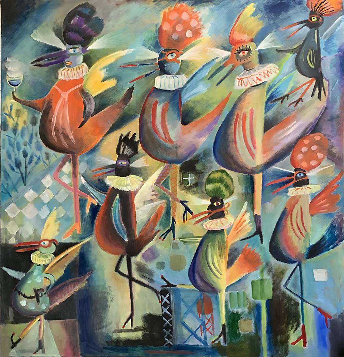 """Wild Birds"" by Santiago Cohen, oil on canvas, 58x52, courtesy Pro Arts"