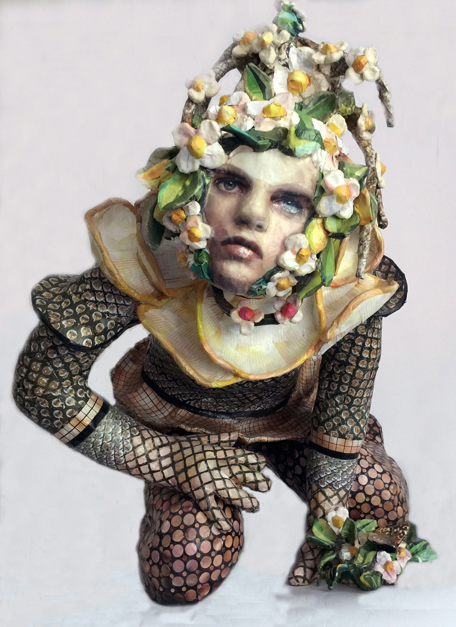 """Sharon"" by Barbara Minch, paper clay and paper collage sculpture, 28x23x22"