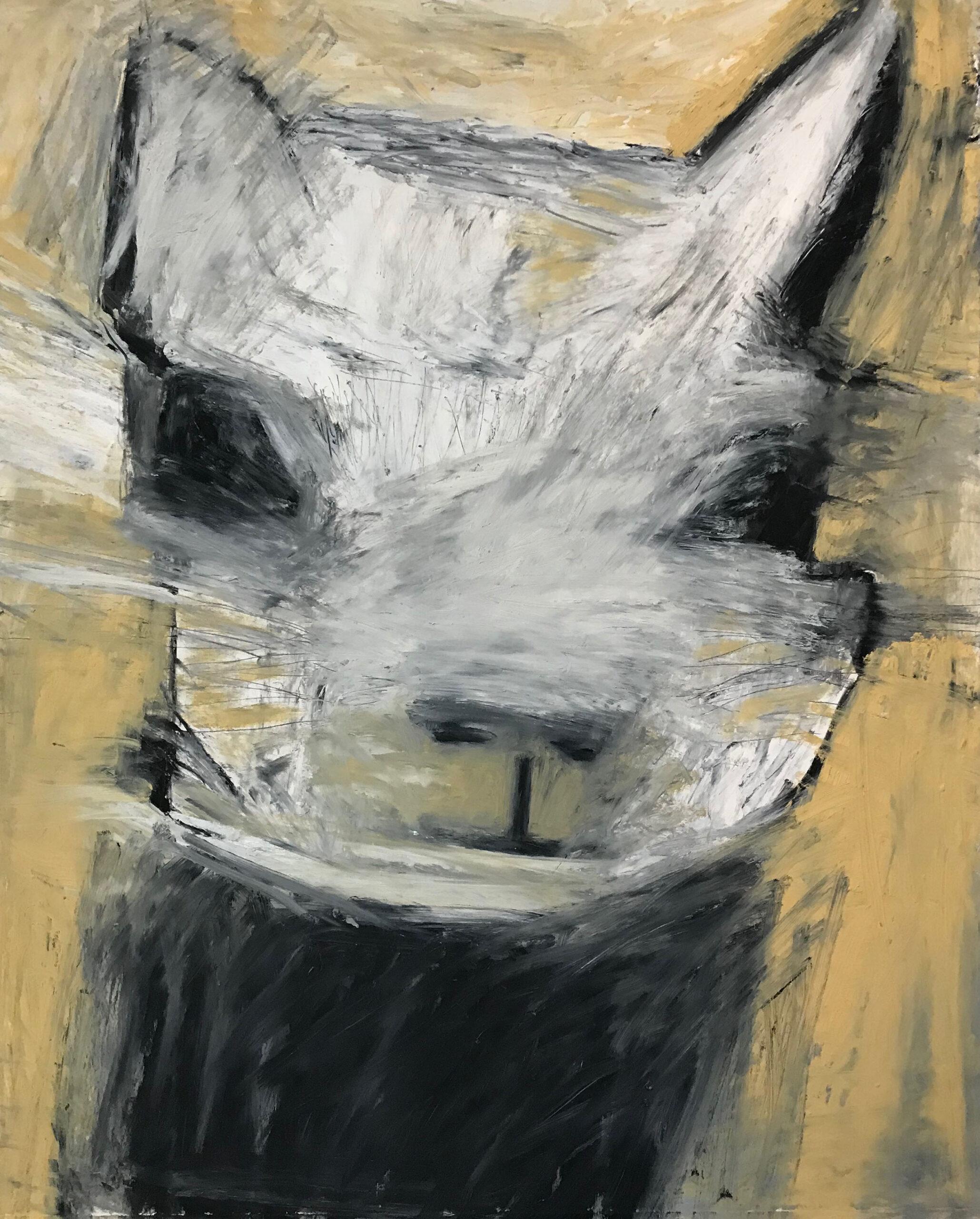 """Squirrel, Civilian Beast"" by Val Sivilli, oil stick on Arches 88, 30 x 22"