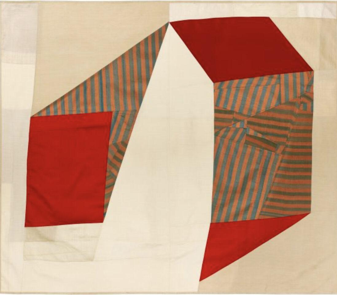 """""""Silence is Unclear I"""" by Debra Smith, vintage fabric, 45x52, courtesy Kathryn Markel Fine Arts"""