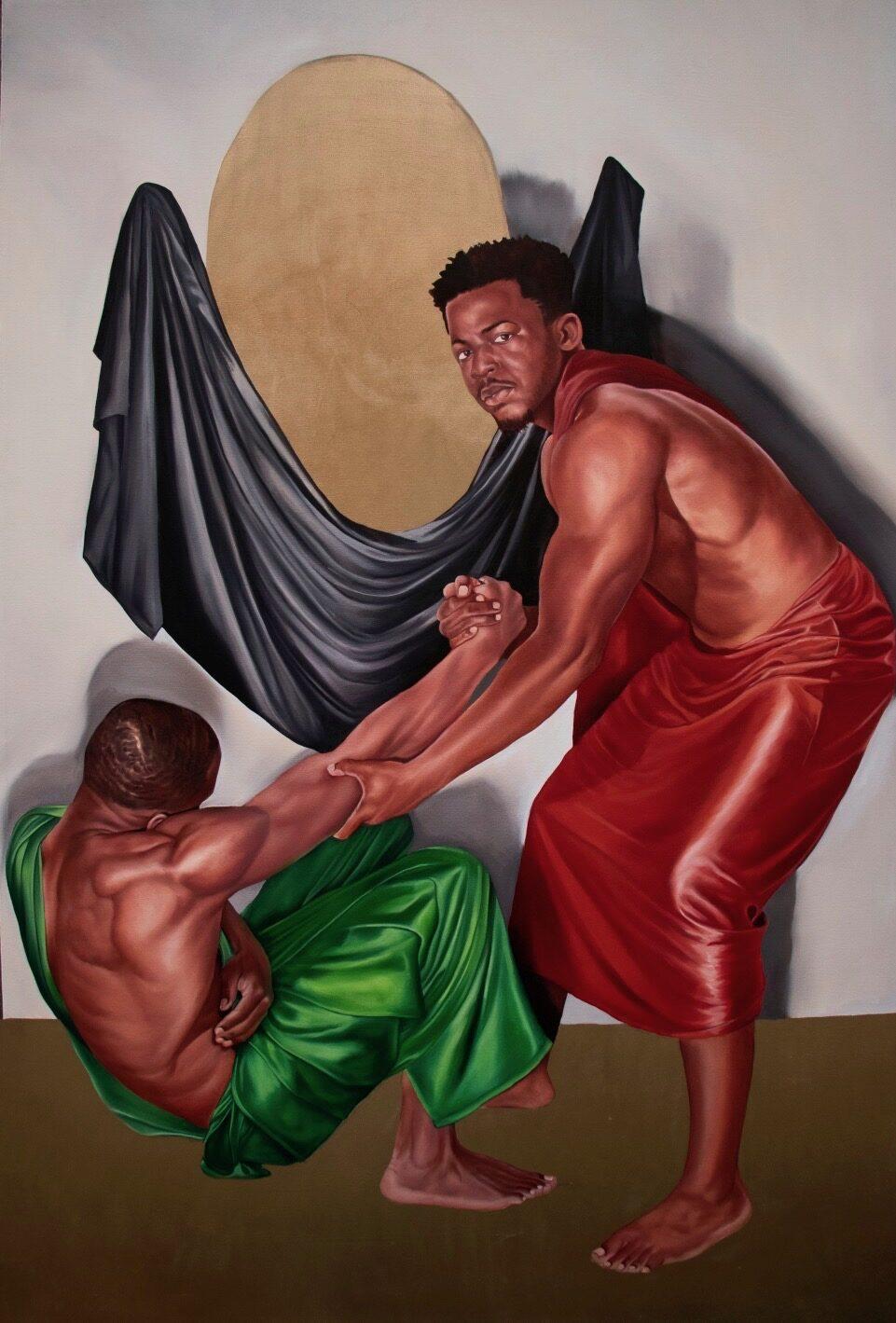 """Strengthen the Brethren"" by Tyler Ballon, oil on canvas, 90 x 60 inches"