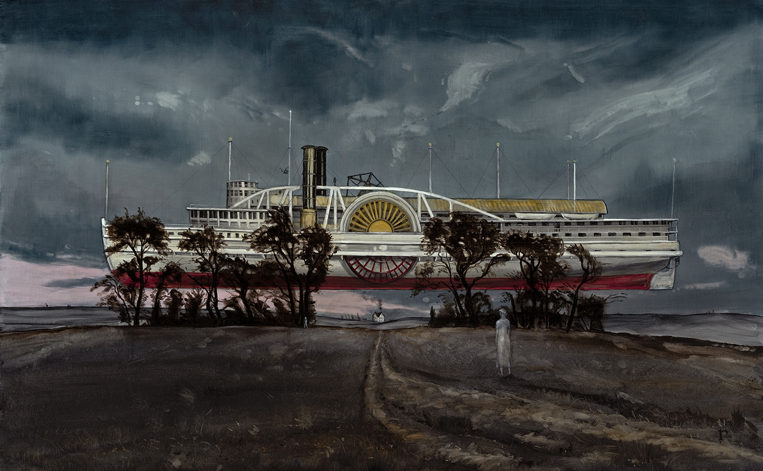 """""""The Fabulous Riverboat"""" by Rye Tippett, oil on panel, 30x48, courtesy Morpeth Contemporary"""