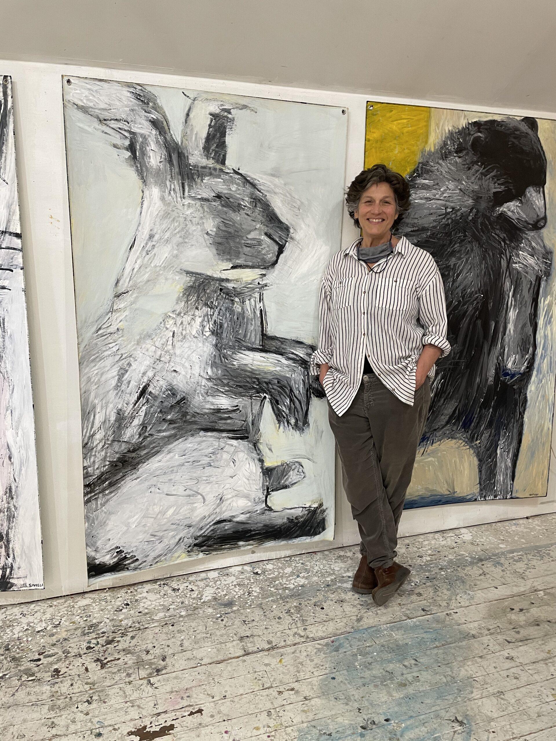 artist Val Sivilli in her studio