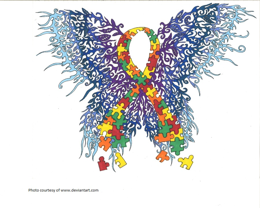 Autism ribbon butterfly Paint