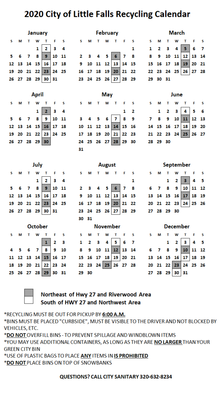 Little Falls MN Recycling Calendar
