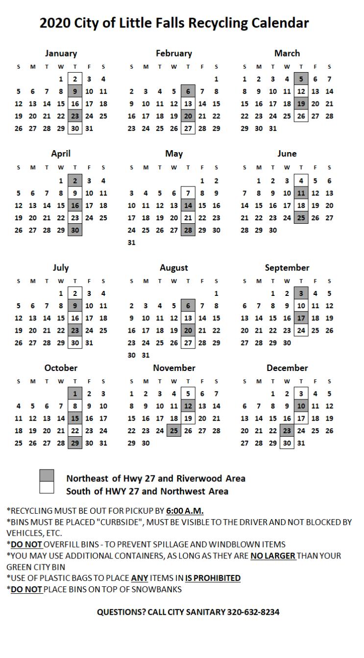 Little Falls MN Recycling Calendar