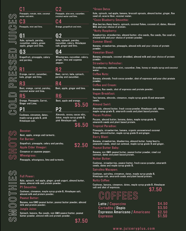 Juicery plus menu