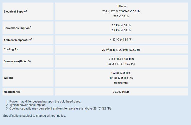 Specifications: Zephyr® Cryocooler Indoor Air-Cooled Compressor Series