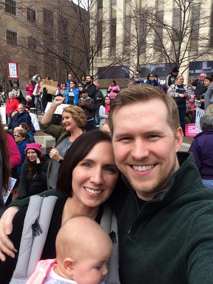 Mark and family at women's rally in Dayton
