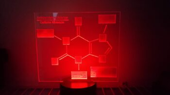 Caffeine molecule LED lamp with the color of the light set to red