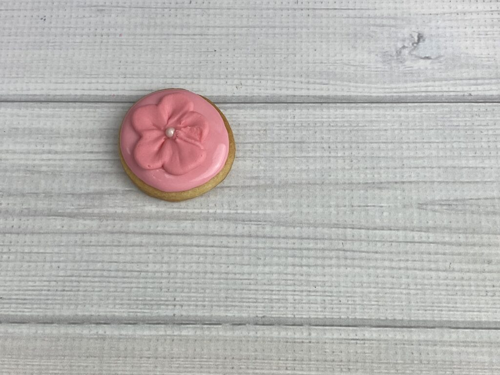 Add royal icing transfer for Mother's Day Flower Cookies