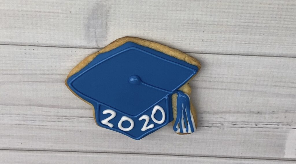 Add tassel and 2020 or grads name to 2020 Graduation Cookies