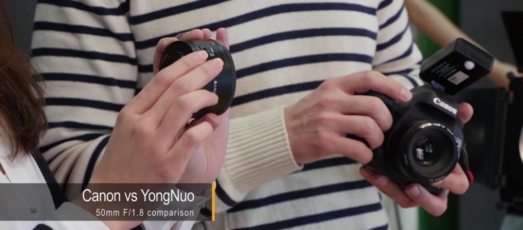 Os fotógrafos comparam lentes Yongnuo e Canon de 50 milímetros em diversos aspectos.