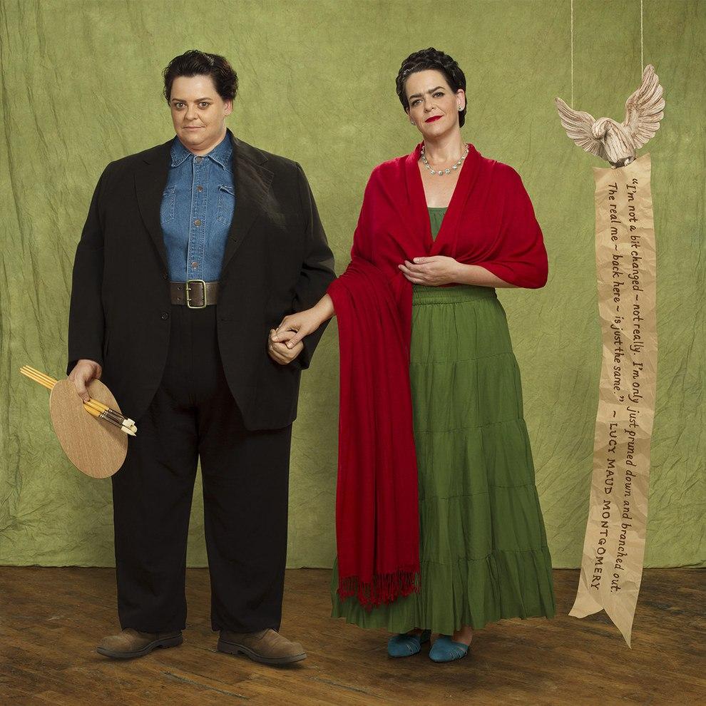 O antes e depois de Beth como o famoso casal Diego Rivera e Frida Kahlo | Foto: Blake Morrow