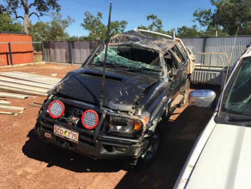 O estrago no carro de Murray.