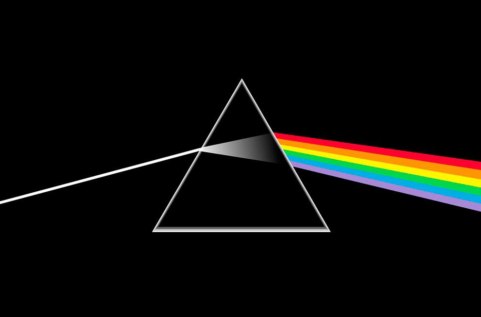 """""""É a dispersão que causa a separação da luz branca em suas componentes coloridas que vemos no prisma de Newton, na capa do Dark Side of the Moon do Pink Floyd e no arco-íris caseiro de Descartes"""", explica Edgar Moura"""