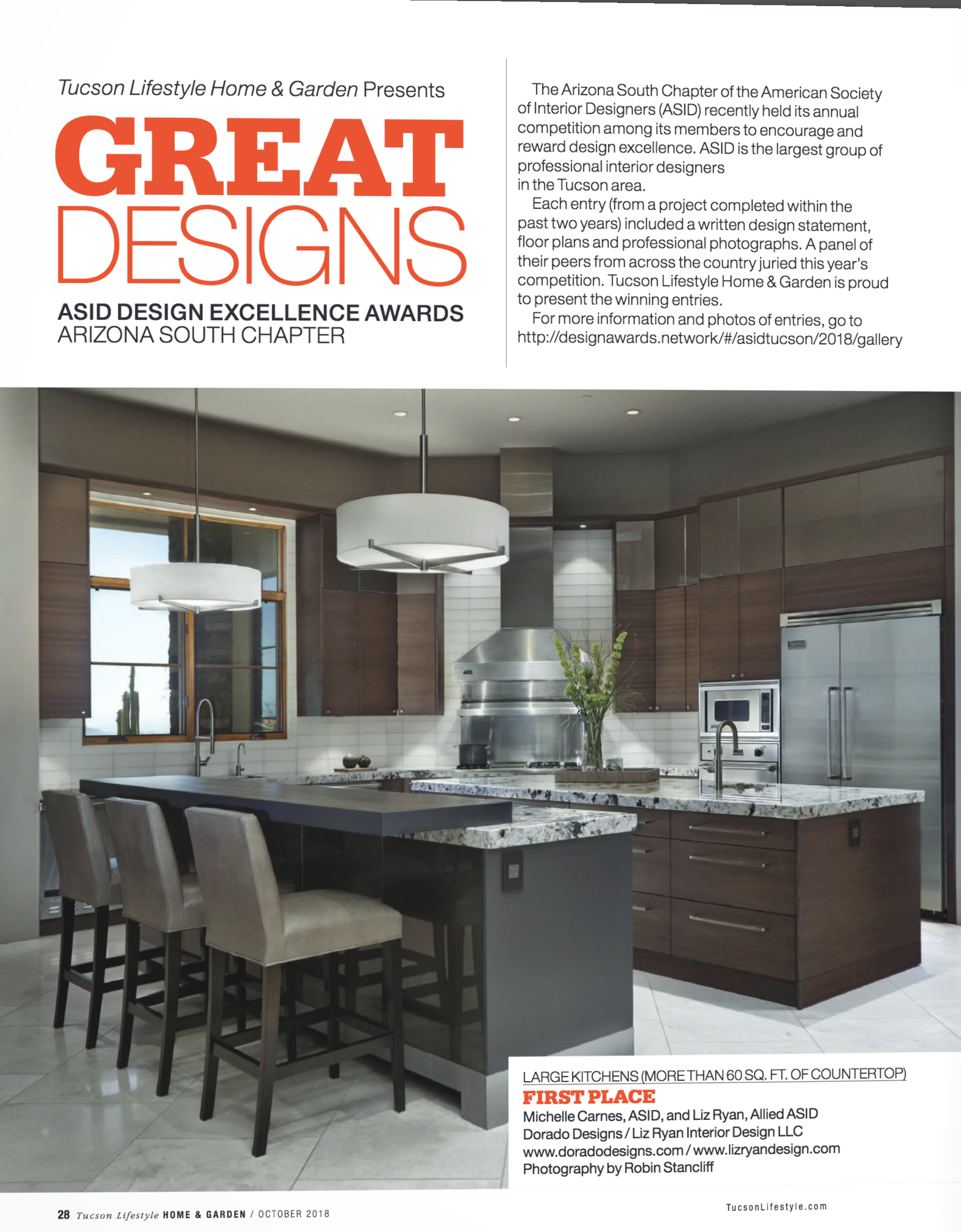 Dorado Designs - Tucson Life Style Home & Garden Awards Magazine 2018