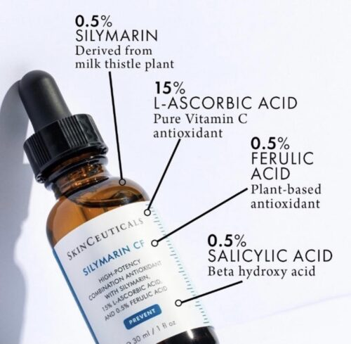 A diagram showing the ingredients in SkinCeuticals Silymarin CF. Four labels point to the bottle: 0.5% Silymarin, derived from the milk thistle plant; 15% L-Ascorbic Acid, pure vitamin C antioxidant; 0.5% ferulic acid, plant-based anti-oxidant and 0.5% salicylic acid, beta hydroxy acid.