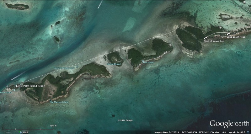 Approximate location of proposed sewer line, Coupon Bight Aquatic Preserve, Fla Keys